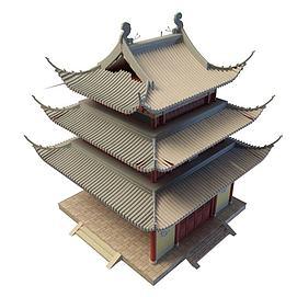 3d古建塔楼模型