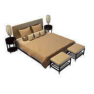 高档双人床3D模型3d模型