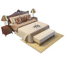 东南亚风格双人床模型3d模型