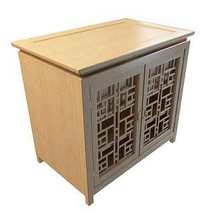 实木镂空矮柜3d模型