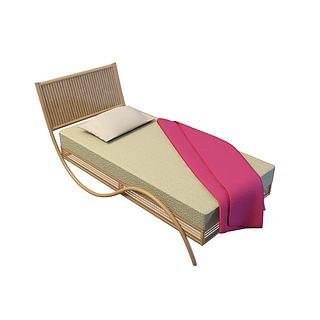 休闲单人床3d模型
