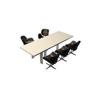 公司培训桌椅组合3d模型