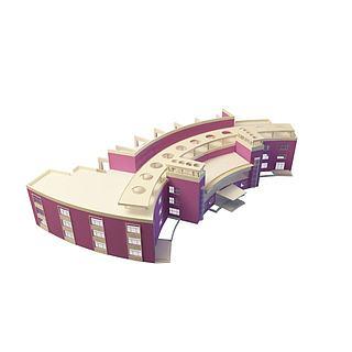 紫色<font class='myIsRed'>教学楼</font>3d模型