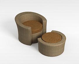藤椅沙发3d模型