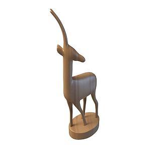 小鹿木质雕塑3d模型
