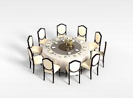 10<font class='myIsRed'>人</font>餐桌椅组合3d模型