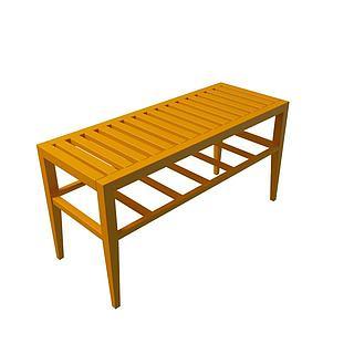 中式木板桌3d模型