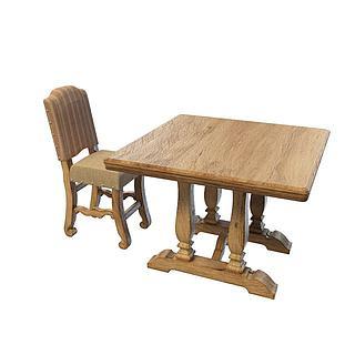 田园<font class='myIsRed'>实木桌椅</font>3d模型