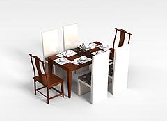 中式餐桌椅组合模型3d模型