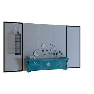 现代中式玄关柜3d模型
