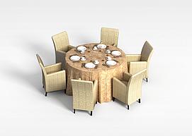 6<font class='myIsRed'>人</font>圆形桌椅组合3d模型