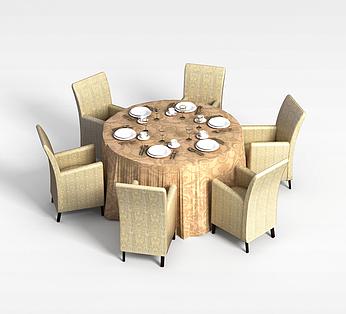 6人圆形桌椅组合