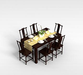 中式6人餐桌椅
