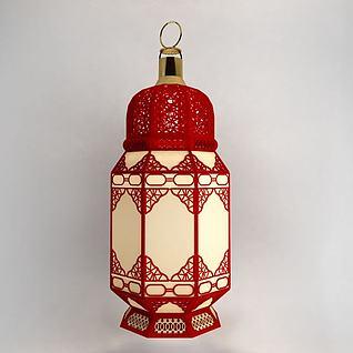 3d春节复古灯笼模型