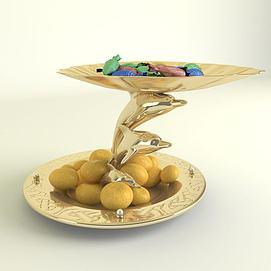 金色果盘3d模型