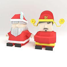 圣诞老人和财神3D模型3d模型