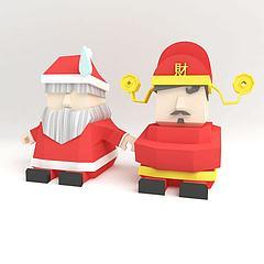 圣诞老人和财神模型3d模型