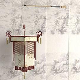 中式手提灯笼3d模型