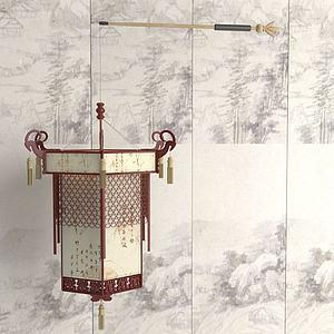 中式手提灯笼模型