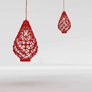 红色镂空吊灯3d模型