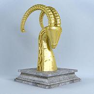 金色羊头摆件3D模型3d模型