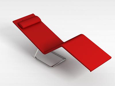 3d<font class='myIsRed'>紅色</font>躺椅模型