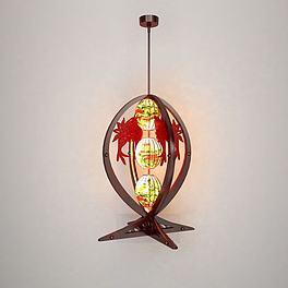 鱼形中式吊灯3D模型