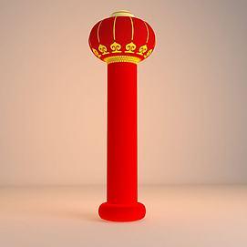 红色灯笼柱3d模型