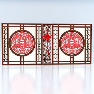 春节中式隔断3d模型