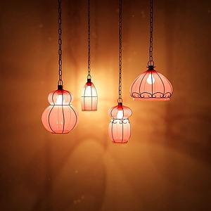 春节吊灯模型