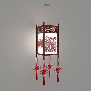 羊年灯笼吊灯3d模型