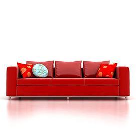 中式红色沙发3d模型