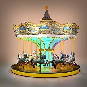 商場兒童游樂旋轉木馬模型