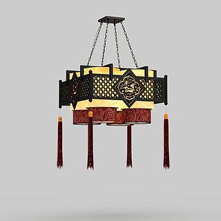 春节中式吊灯3d模型