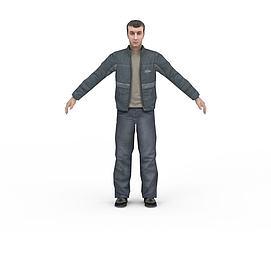 现代休闲男装3d模型