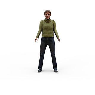 休闲女人3d模型