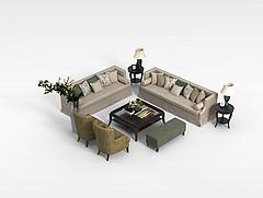 欧式客厅沙发组合模型3d模型