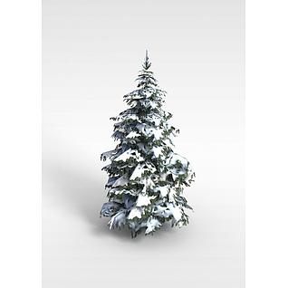 落雪松树3d模型