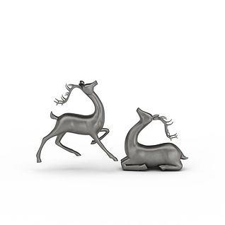 鹿摆件3d模型