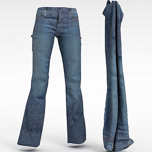 3d女士<font class='myIsRed'>牛仔褲</font>模型