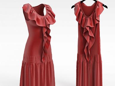 3d<font class='myIsRed'>紅色</font>裙子模型