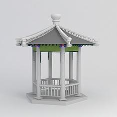 公园凉亭3D模型3d模型