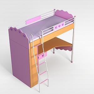 粉色学生床模型3d模型