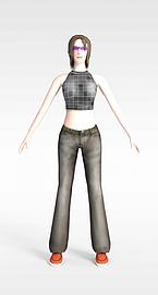 3d游戏女人角色模型