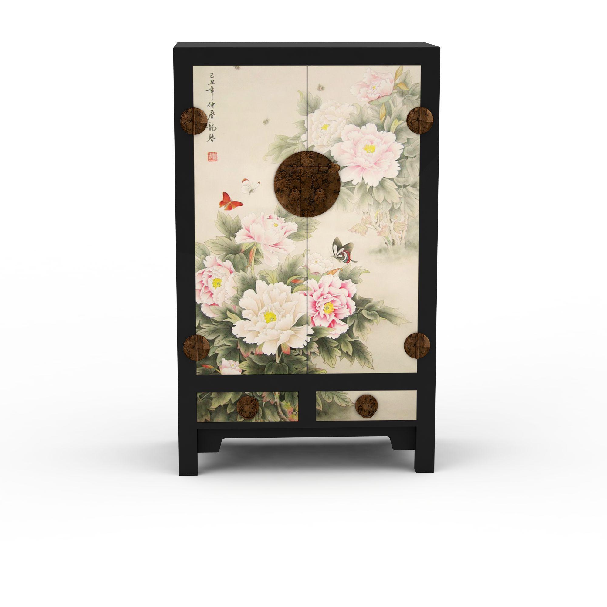 家具组合 柜 牡丹花图案衣柜3d模型