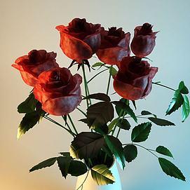 3d绢布玫瑰花模型
