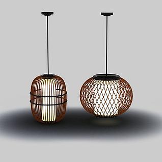 竹编吊灯3D模型