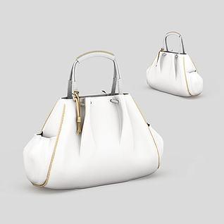 白色女士手提包3d模型