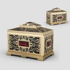 3d纯铜雕花首饰盒模型