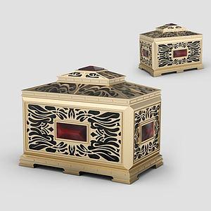 3d純銅雕花首飾盒模型